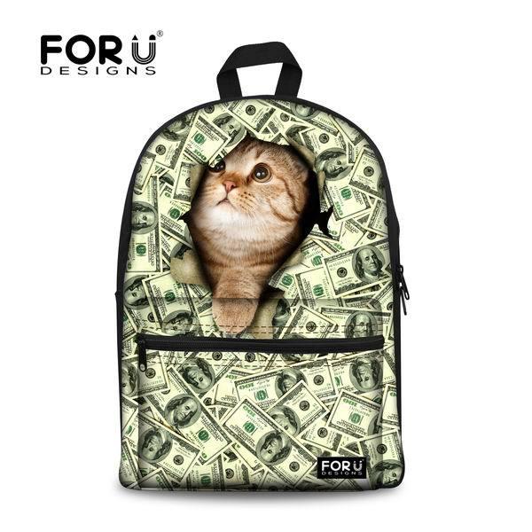 FORUDESIGNS/милый 3D Кот Животное женский рюкзак Женская дорожная сумка для ноутбука повседневный рюкзак для подростков девочек Mujer школьный рюкзак - Цвет: 2u0067a