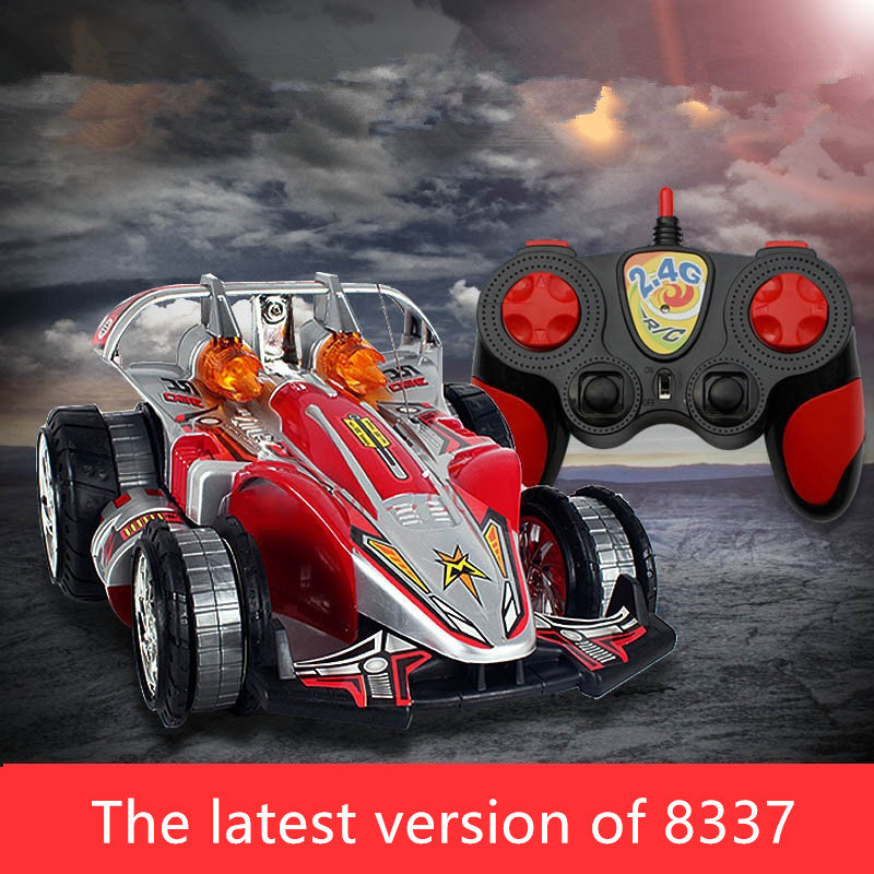 rc fighter car 8337 2.4G 360 Degree Rotation remote control stunt car child racing car toy with Colorful Light rc toy child gift