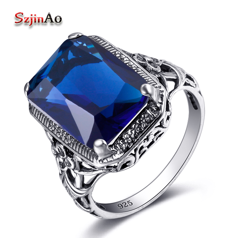 Szjinao Fashionable Retro Punk Solid 925 Sterling Silver Wedding Rings With Blue Gems Handmade Antique Jewellery Women Knot Ring