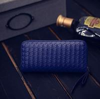 Mulheres moda de nova bolsa estilo hot tecer um longo zíper saco de mão senhora carteira de moda carteira móvel