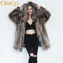 CbuCyi Fashion Winter Women's Clothing Long Jackets Coats Animal Ear Hooded Faux Fur Coat Female Warm Thick Overcoat Plus Size