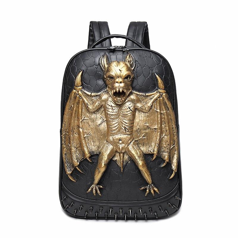 The new personalized Street Cool Rock MEN Backpack Grimace Pattern Bat Mettal Pattern Backpack Funny Shoulder Bag PACK in Sale