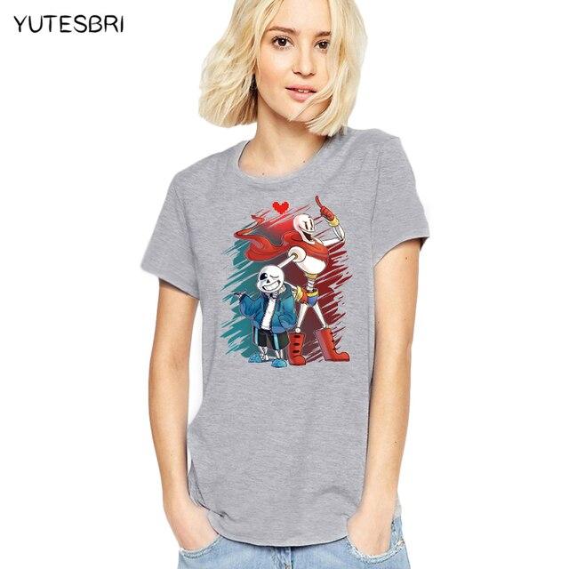 affc6156 Funny Game Undertale T-Shirt summer Undertale sans / papyrus rock Top Tees  Teens skull brother t shirt women soft cotton tshirt