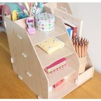 Coloffice Creative1PC Pink Wooden Bookends Multifunctional Office Desktop Storage Box Data Rack School Office Organizer Supplies