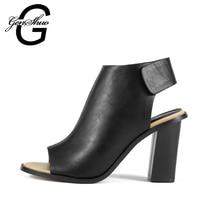 GENSHUO 8 CM Heels Schuhe Frau Sommer Gladiator Frauen Sandalen Sexy peep Toe Ankle Strap High Heel Sandalen Alias De Salto 34