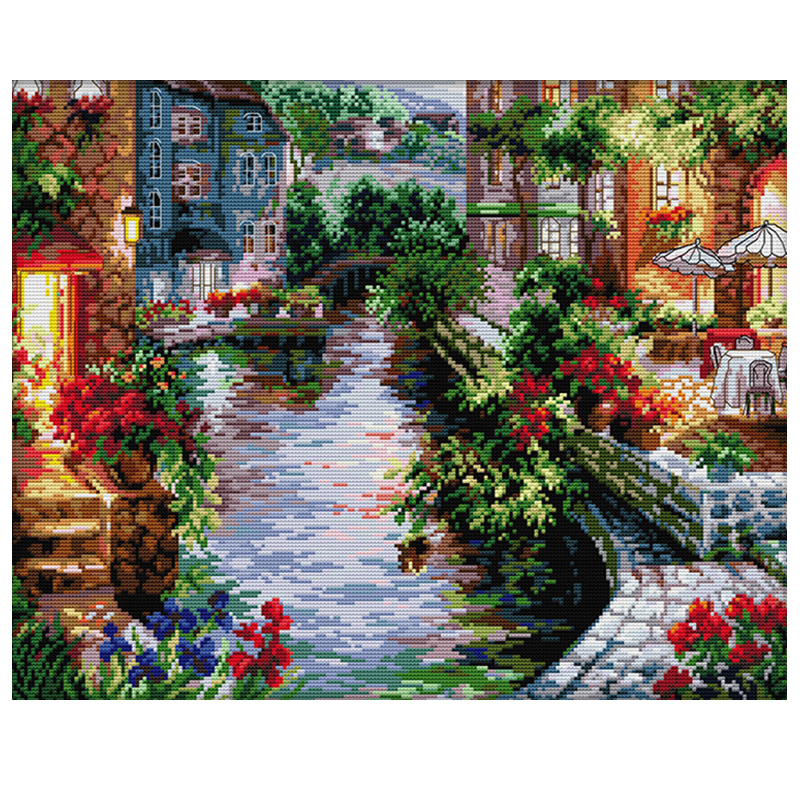 DIY diamond painting cross stitch Needlework diamond embroidery full square Crystal resin diamond kit mosaic River water 22