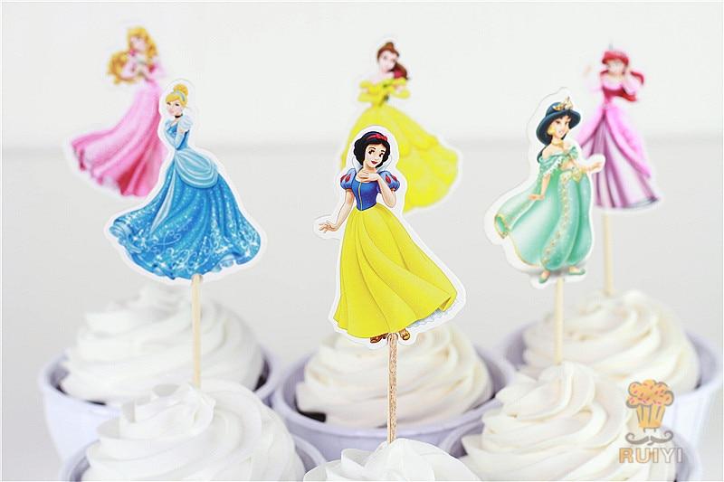 Astounding 72Pcs Lovely Princess Cinderella Cake Topper Cupcake Picks Case Birthday Cards Printable Inklcafe Filternl