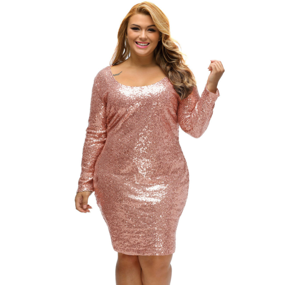 Buy Cheap Fashion New Plus Size Sequin Party Dresses 2017spring Champagne Large Size Long Sleeve Dress Night Club Vestido De Festa LC61423