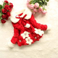 AD Flowers Girls Christmas Red False Fur Winter Jacket Warm Thermal Thick Children's Coat with Fur Collar Clothing