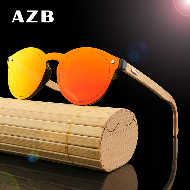 AZB 2018 New product colorful Flat Lens Sunglasses Men/women round bamboo sunglasses wooden UV400 oculos de sol feminino