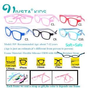 Image 2 - IVSTA 519 dwutlenek silikonu dziewczyny okulary 49 15 TR90 dzieci okulary na receptę rama z pasek podtrzymujący receptę