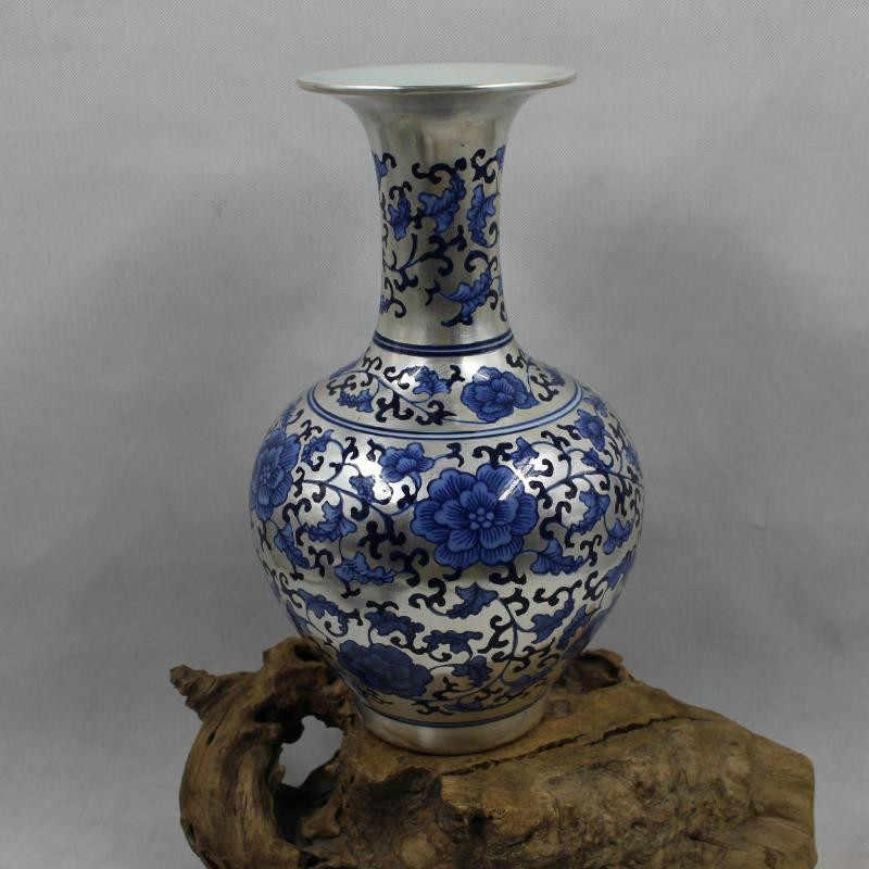 สร้างสรรค์ใหม่คลาสสิกหลังสมัยใหม่เงินแจกันพอร์ซเลนสีฟ้าและสีขาวโลตัสแจกันดอกไม้สำหรับตกแต่งบ้าน