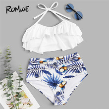 5ec9d1b7d2 Romwe Sport Ruffle Two-Pieces Suits Tiered Layer Top With Tropical Ruched  Bikinis Set Women Sexy Swimwear Summer Beach Swimsuit
