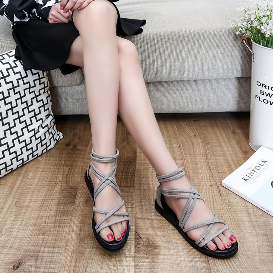 women Sandals Women Flat Shoes Bandage Bohemia Leisure Lady Casual Sandals Peep-Toe Outdoor Chaussures Femme 2018 hot sale 17