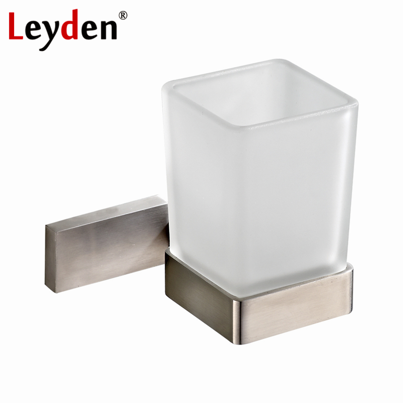 Leyden Square Toothbrush Tumbler Holder Modern Brushed Nickel Stainless Steel Cup Holder with Glass Cups Bathroom Accessories bathroom accessories stainless steel modern black finish toothbrush tumbler