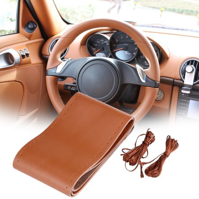 38cm Leather Auto Car Steering Wheel Cover Soft Anti-slip Car Steering Cover With Needles Thread Car Styling