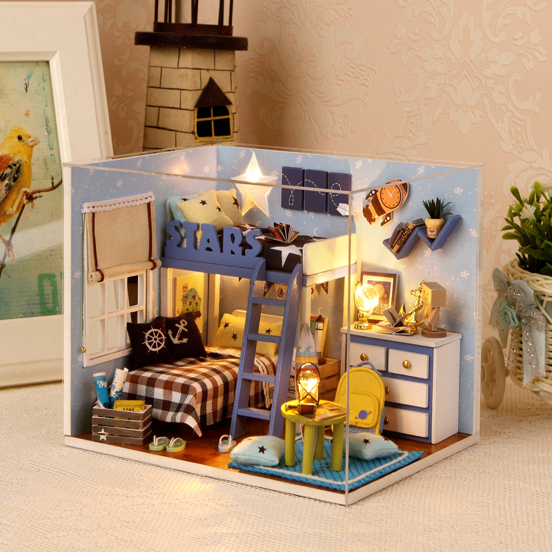 Elegant DIY Model Miniature Dollhouse With Furnitures LED 3D Wooden House Toys Handmade Crafts Gifts For Children H005 #D