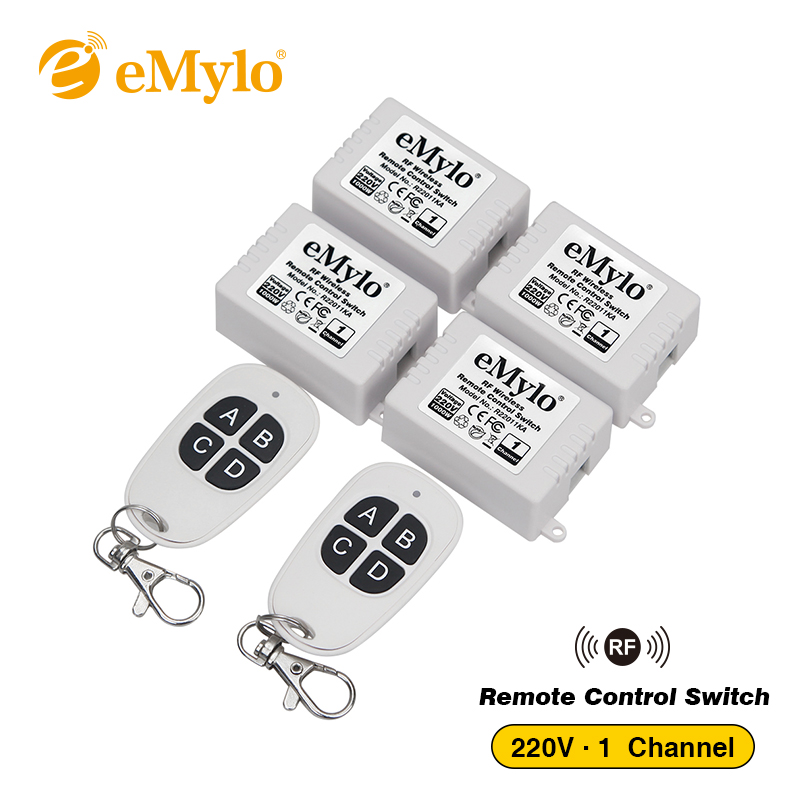 eMylo 4x 220v 1000w 1channel 433Mhz Wireless RF Realy Remote Control Switch Receiver with Transmitter isudar car multimedia player automotivo gps autoradio 2 din for skoda octavia fabia rapid yeti superb vw seat car dvd player