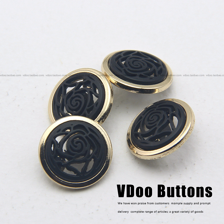 High grade gold and black button buttons monopoly fashion hollow metal coat  buttons 18mm 23mm sewing supplies-in Buttons from Home & Garden on