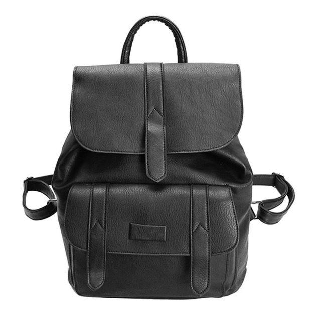 Women PU Leather Vintage Backpack Solid Color School Bags For ...