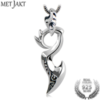 MetJakt Real 925 Sterling Silver Pendants & Dragon Wing Charm Necklace for Cool Men Vintage Thai Silver Jewelry (Just Pendant)