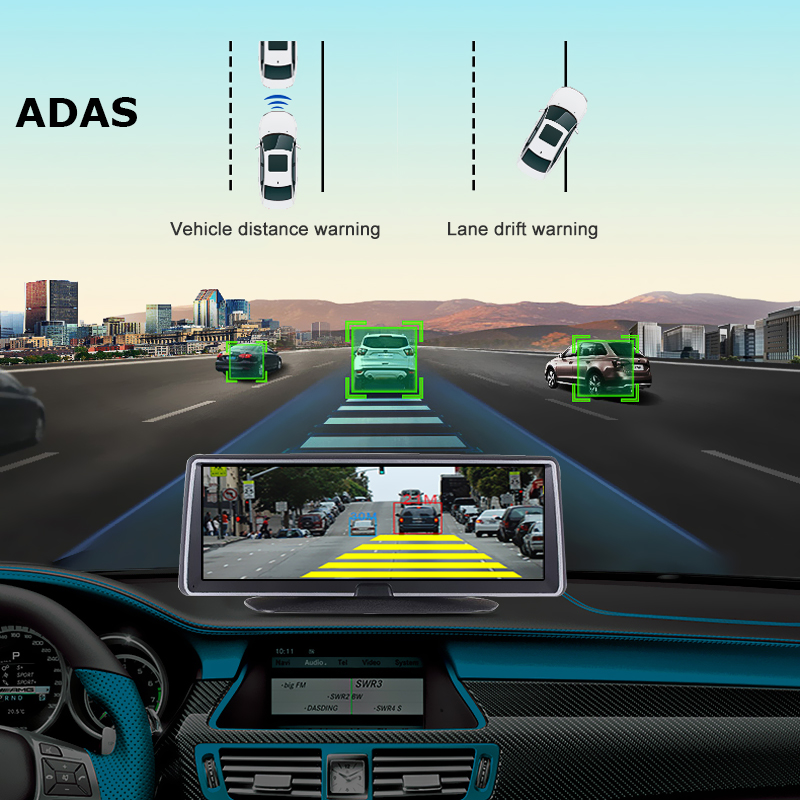 Bluavido 8 Inch 4G Android Car Dashboard DVR Camera GPS Navigation ADAS 1080P Dual Lens Car Video Recorder Night vision WiFi