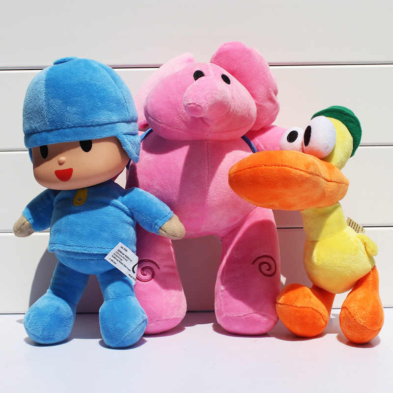 3 pçs/lote Pocoyo Elly pato de Pelúcia Bonecas de Presente Boneca Brinquedos de Pelúcia Macia Para Crianças 20 ~ 28 cm