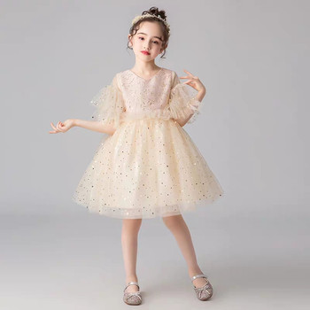 Baby Kids Elegant Champagne Color Evening Party Birthday Sequined Princess Fluffy Dress Little Girls Teens Host Tutu Prom Dress