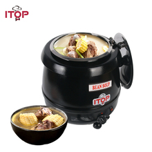 ITOP Electric 10L Soup Kettle Commercial Wet Heat Soup Warmer Stainless Steel Soup Pot With Lids Food Processors 110V 220V цена и фото