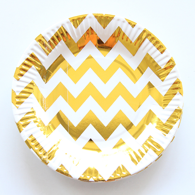 10pcs Gold Silver Wave Wedding Design Paper Plate Disposable Plates For Kids Birthday Wedding Decorative Party  sc 1 st  AliExpress.com : disposable plates wedding - Pezcame.Com