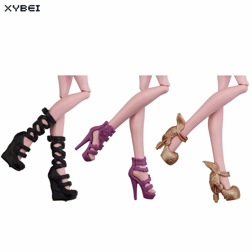 3 Pairs/lot Mixed Style Design Shoes Colourful Plastic Cute High Heels Sandals Boots For Monster High Doll Accessories Toys