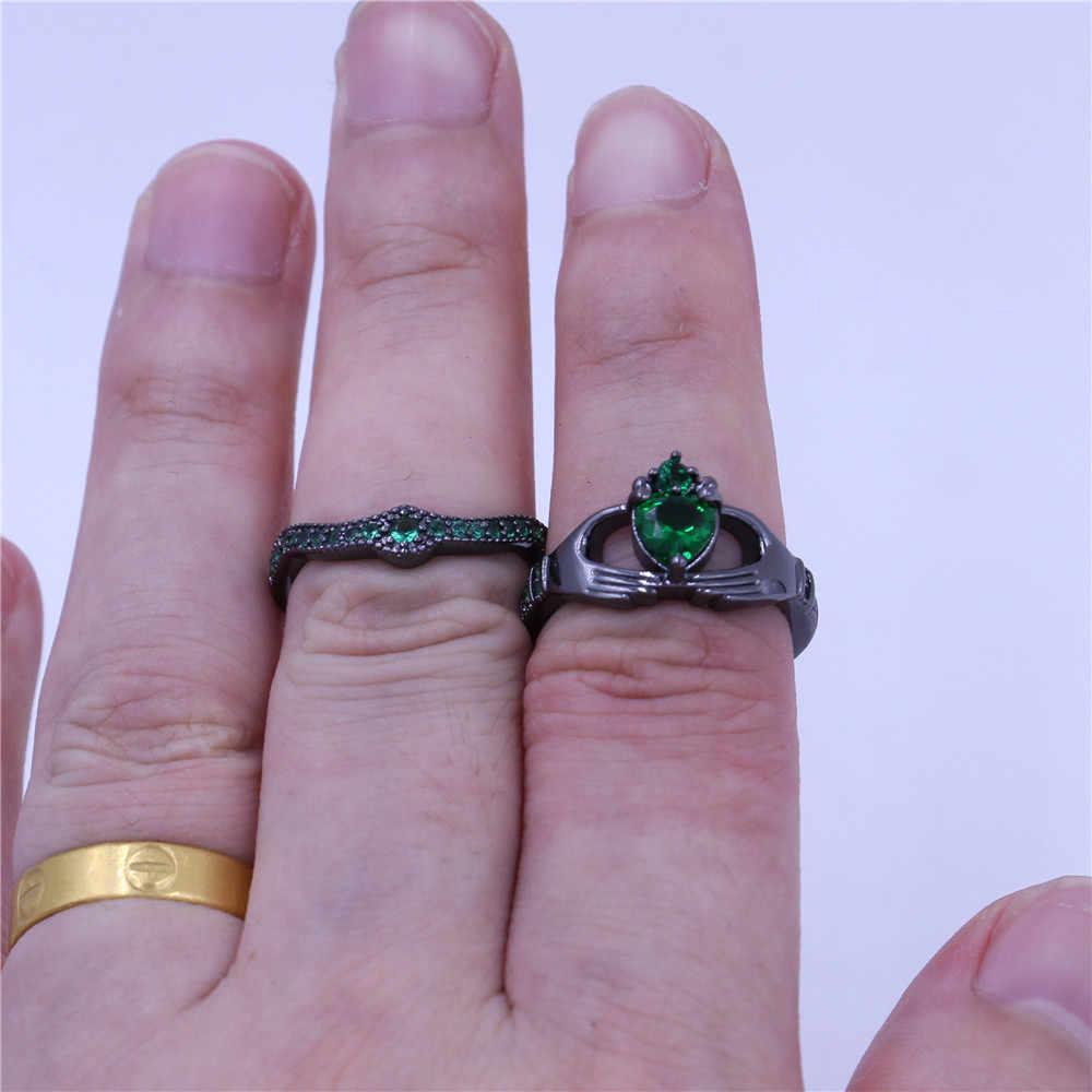 Choucong 4 สี Birthstone ผู้หญิง claddagh แหวน 5A zircon cz Black Gold Filled ชุดเจ้าสาวชุดแหวนสำหรับผู้หญิงผู้ชาย