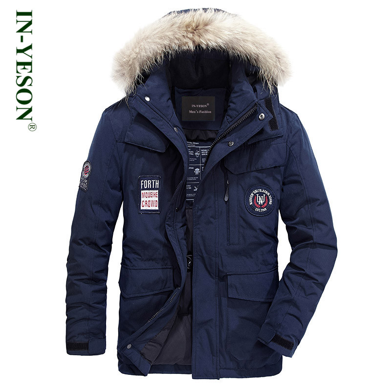 Новинка 2018 г. зимняя куртка для мужчин бренд IN-YESON вышивка меховой воротник Сгущает белая утка подпушка утепленная парка