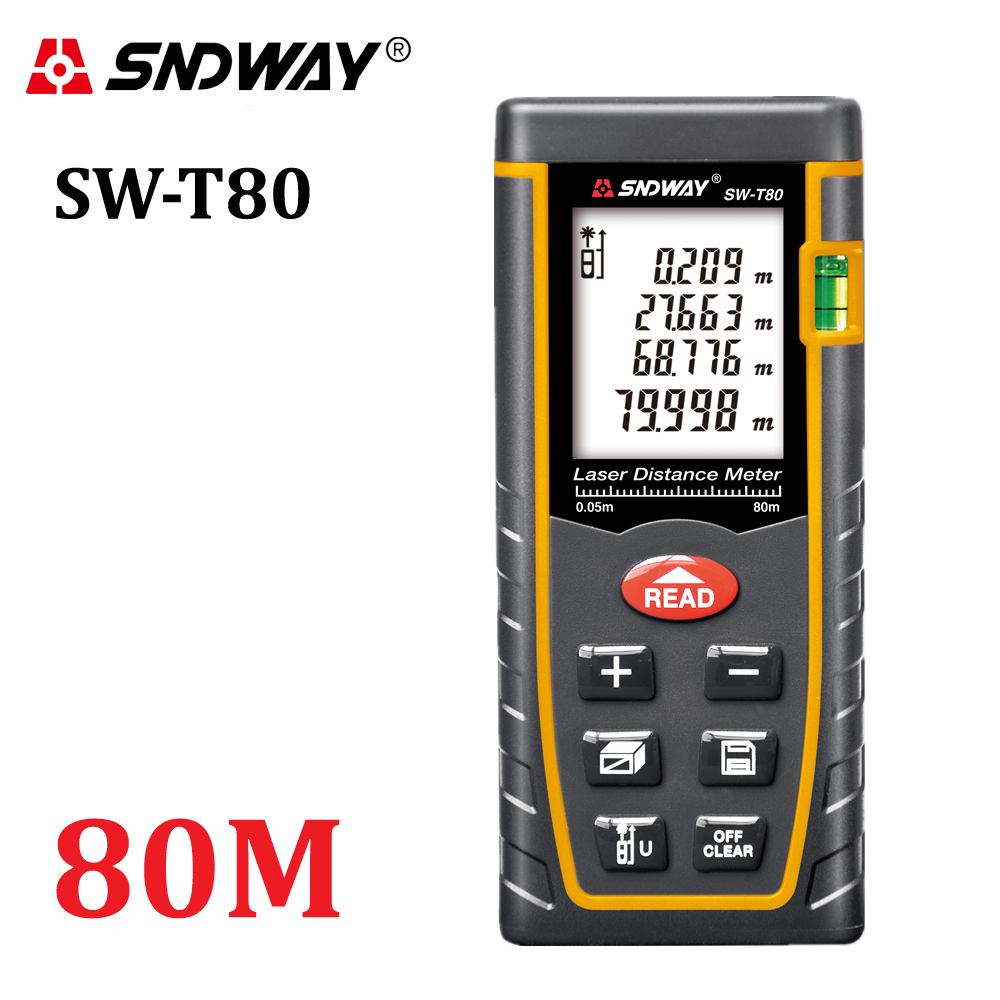 SNDWAY T80 laser distance meter rangefinder 80m 262ft trena laser Bubble level range finder Building measure tape tester Tools mastech ms6418 laser distance meter 80m distance measure digital range finder with bubble level
