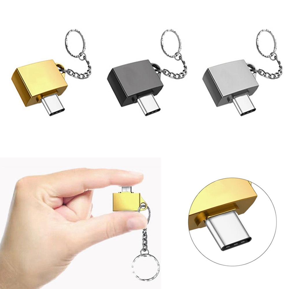 Blacksilvergold USB 3.1 Type C Male to USB 2.0 Female Connector Mini OTG Adapter Type-C USB-C OTG Converter Key Ring Keychain