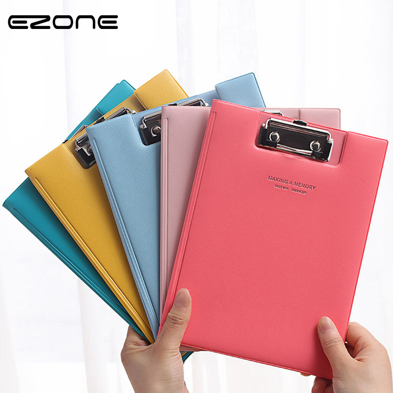 EZONE A5 Candy Color PU Straight Plywood Signed Clipboard Fold-Over Kawaii WordPad Vertical Fashion Writing Board  Stationery