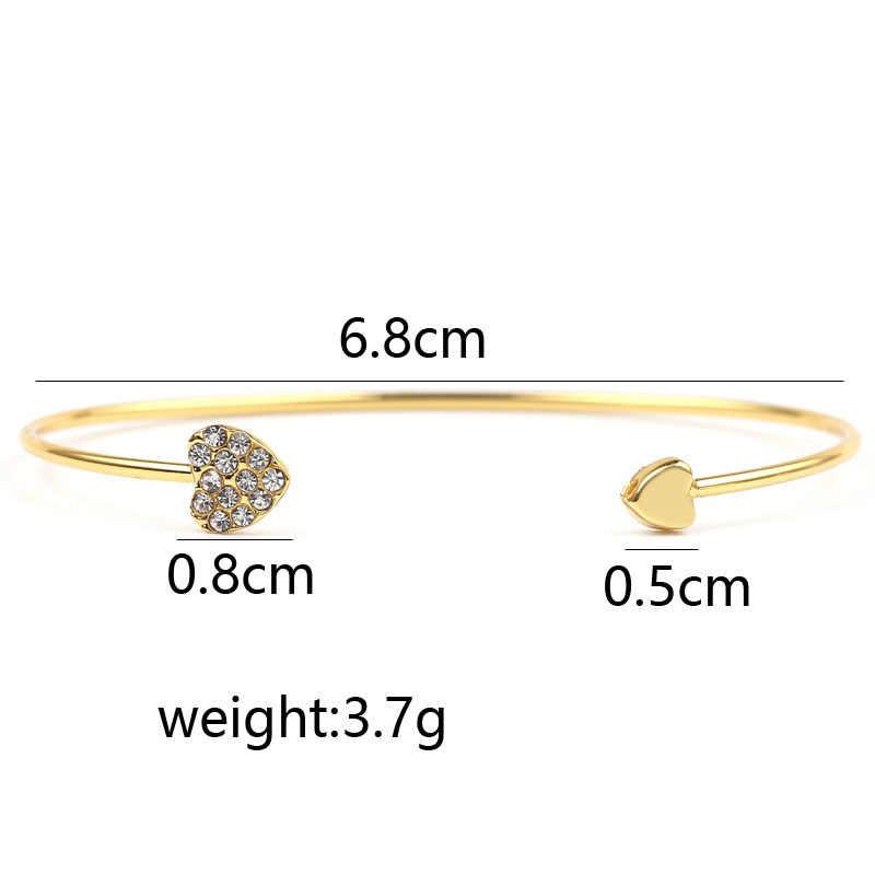 Pulseira ajustável de cristal feminina, bracelete com fecho de coração duplo, corrente e fecho para mulheres, joia para presente, atacado, 2020