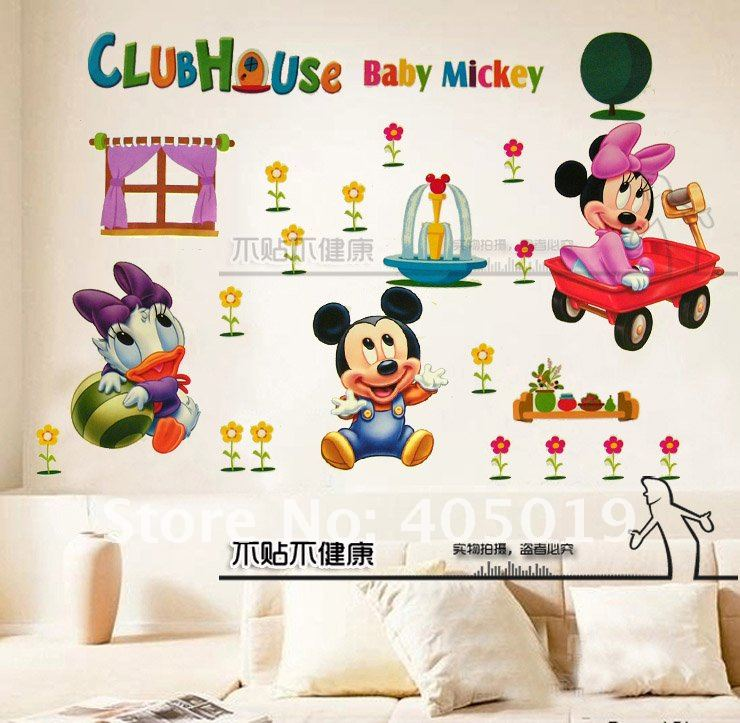 60x90cm Hl6857 Mickey Mouse Wall Sticker Cartoon Minnie Clubhouse Room Paper Giant Nursery Daycare Decor Mixable Free Shipping In Stickers From Home