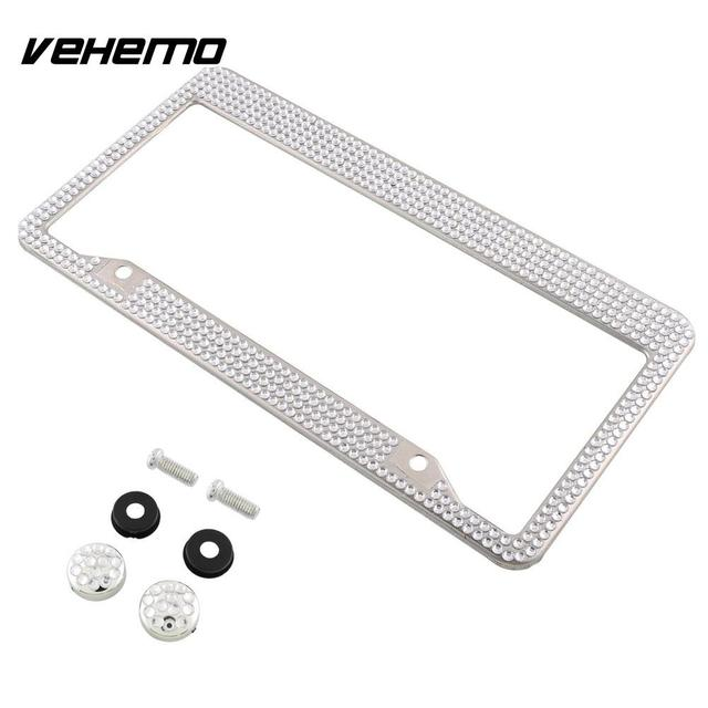 Vehemo Stainless Steel Le Luxury White Bling Crystal Number License Plate Frame