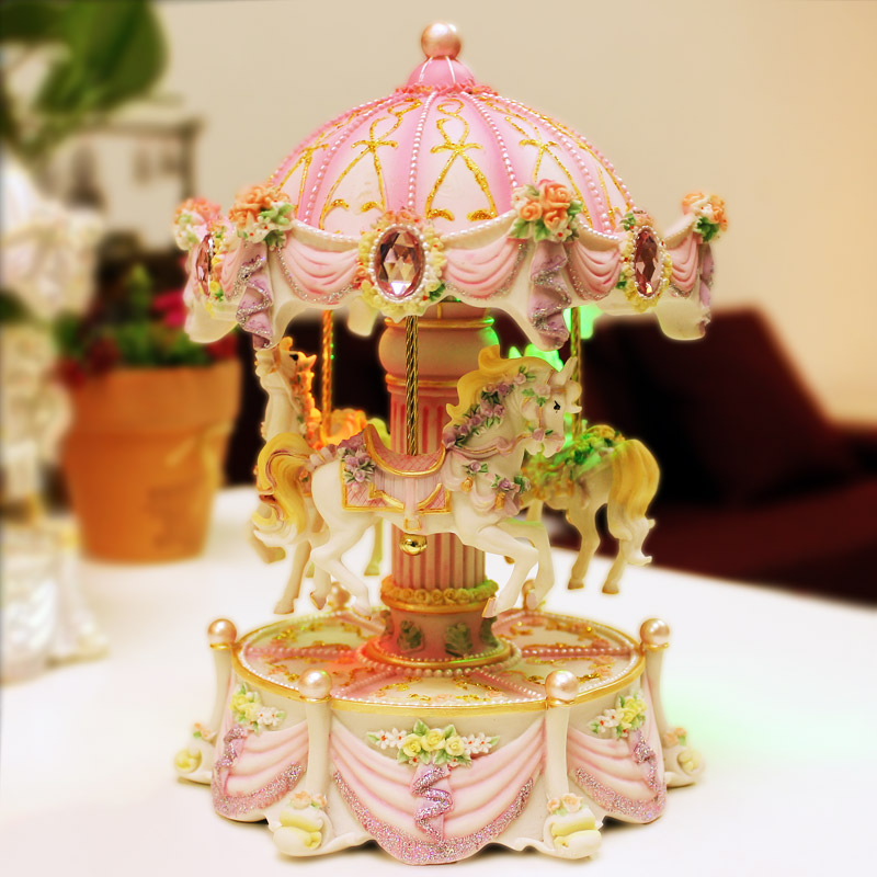 Creative Gifts Carousel Mini Music Box with Flashing Light Musical Boxes for Princess Love Girl Valentine