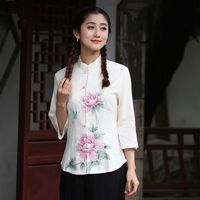 Top Selling White Ladies Cotton Linen Shirt Tops Classic Chinese Style Blouse Size S M L