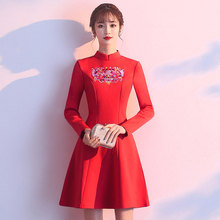 0c6b17eae8 Chinese Style Thick Qipao Cheongsam Women Vintage Floral Embroidery Slim  Dresses 5XL Plus Size Black Red