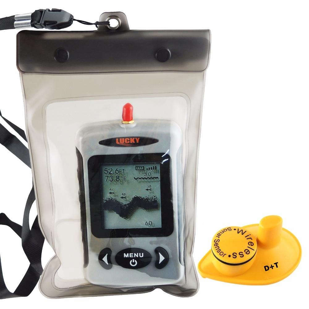 LUCKY Digital 45M Wireless Sonar Sensor Fishfinder Russian Menu Fish Finder with Waterproof Bag эхолот lucky ffw718li