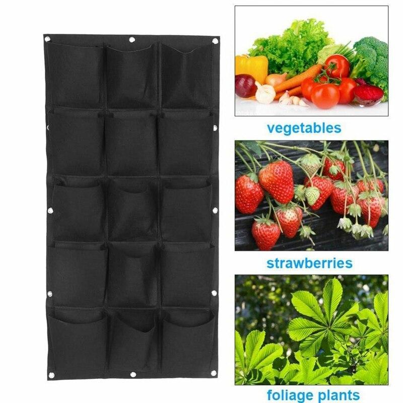 Vegetable Plant Wall Hanging Garden Vertical Gardening 4/7/12/15/18 Pockets Black Felt Fabric Grow Bag Pots Garden Supplies-in Grow Bags from Home & Garden