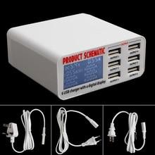 EU/US/UK Plug 6A 6 USB Port Fast Charger HUB Wall Charging Adapter LCD Screen