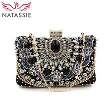 Natassie frauen clutch damen kupplungen diamant geldbörsen weibliche perlen tasche mit kette