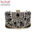 NATASSIE Women Clutch Ladies Diamond Day Clutches Female Beaded Bag With Chain