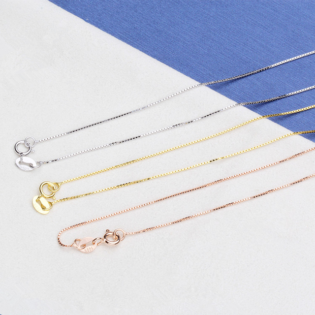 Promotion 925 Sterling Silver Necklaces Slim Thin Snake Chain For Woman 45cm Chain Necklace Silver/Gold/Rose Gold Color