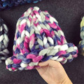 Winter Woman's Hat Monochromatic Warm Knit Cap Thick Stick Knitting Mixed Color Winter Hats For Women Beanies Free S