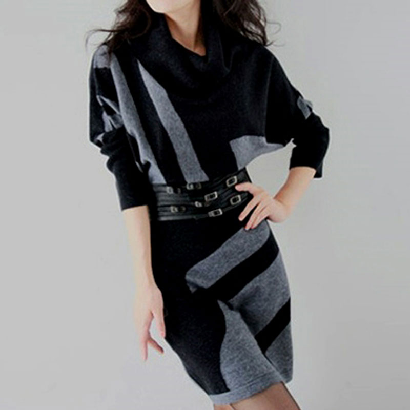 Autumn Winter Female Long Wool Knitted Dresses Turtleneck Slim Lady Accept Waist Package Hip Pullovers Sweater Dress for Women